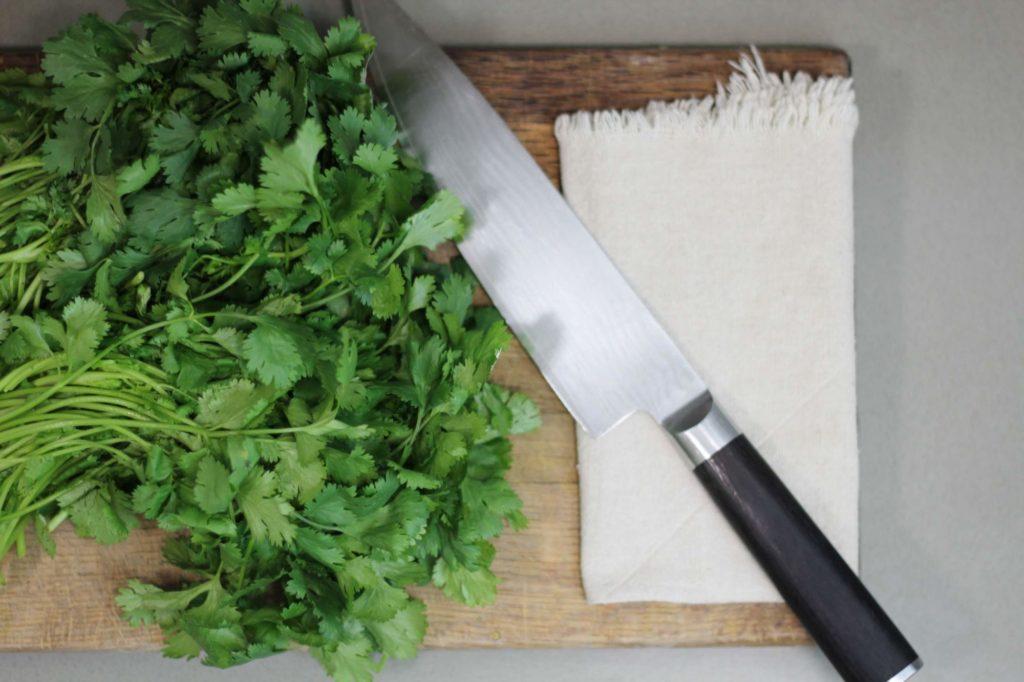 Herbs prepared to be chopped